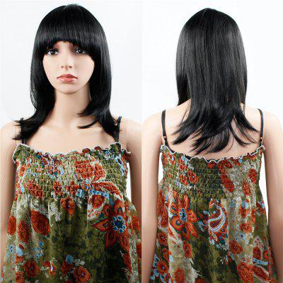Human Hair Wig Womens Straight with Flat Bangs Synthetic Colorful Cosplay Daily Party for Women Natural Black 14 inch
