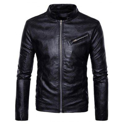 Men's Casual Stand Long Sleeve Regular PU Coat Leather Jacket