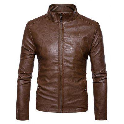 Men's Casual Stand Regular PU Coat Leather Jacket