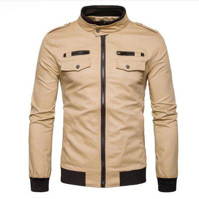 Men's Casual Stand Long Sleeve Jacket Coat