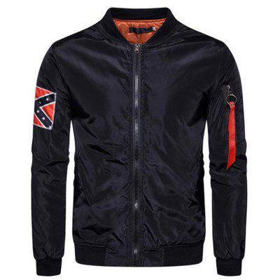 Men's Casual Stand Letter Print Jacket Coat