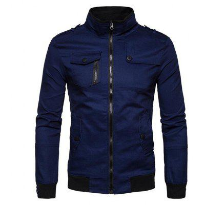Men's Casual Solid Stand Long Sleeve Jacket Coat