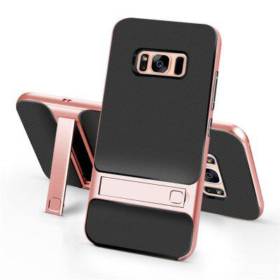 Shockproof Stand Back Cover Solid Color Hard PC + TPU Case for Samsung Galaxy S8 Plus