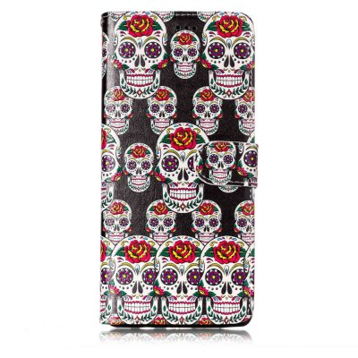Embossed Skull Pattern Leather Cover Case for Samsung Galaxy Note 8