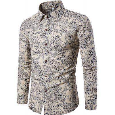 New Men Long Sleeves Printed  Floral  Beach Night Clubs Shirts