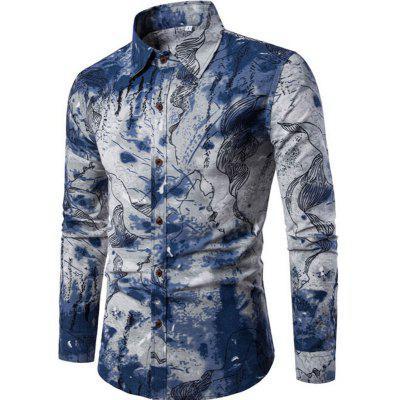2017 Autumn and Winter New Men Long Sleeves Printed Shirts Floral Beach Night Clubs Shirts