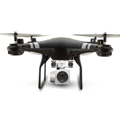 X52HD RC Drone RTF with 720P HD Camera / One Key Auto Return / Height HoldingRC Quadcopters<br>X52HD RC Drone RTF with 720P HD Camera / One Key Auto Return / Height Holding<br><br>Battery: 3.7V 750mah<br>Channel: 4-Channels<br>Charging Time.: 100 min<br>Compatible with Additional Gimbal: No<br>Control Distance: 50-100m<br>Detailed Control Distance: 80~100m<br>Features: Camera, Radio Control<br>Flying Time: 7~8mins<br>FPV Distance: 50m<br>Functions: WiFi Connection, Up/down, Turn left/right, Trim, Speed up, Slow down, Sideward flight, Air Press Altitude Hold, Auto Hover, Auto Landing, Camera, Gravity Sense Control, Height Holding, Hover, One Key Landing, One Key Taking Off, Self altitudes and position hold, One Key Automatic Return<br>Level: Beginner Level<br>Material: Plastic, Alloy<br>Mode: Mode 2 (Left Hand Throttle)<br>Model Power: Built-in rechargeable battery<br>Package Contents: 1 x Quadcopter ( Battery Included ), 1 x Camera, 1 x Remote Control, 1 x Screwdriver, 4 x Propeller Blade, 4 x Blade Protection Cover, 2 x Landing Gear , 1 x English And Chinese Manual<br>Package size (L x W x H): 28.50 x 28.50 x 12.50 cm / 11.22 x 11.22 x 4.92 inches<br>Package weight: 0.6700 kg<br>Product size (L x W x H): 31.50 x 31.50 x 11.00 cm / 12.4 x 12.4 x 4.33 inches<br>Product weight: 0.1300 kg<br>Radio Mode: Mode 2 (Left-hand Throttle),WiFi APP<br>Remote Control: 2.4GHz Wireless Remote Control<br>Size: Large<br>Transmitter Power: 4 x 1.5V AA battery(not included)<br>Type: Quadcopter<br>Video Resolution: 1280 x 720P