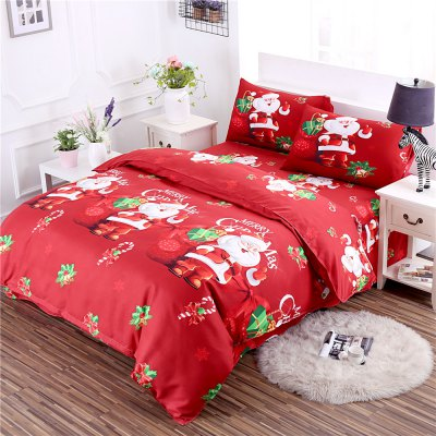 Buy RED TWIN 3D Cartoon Bedding Sets Merry Christmas Gift Santa Claus Bedclothes Duvet Quilt Cover Bed Sheet 2 Pillowcases for $52.39 in GearBest store