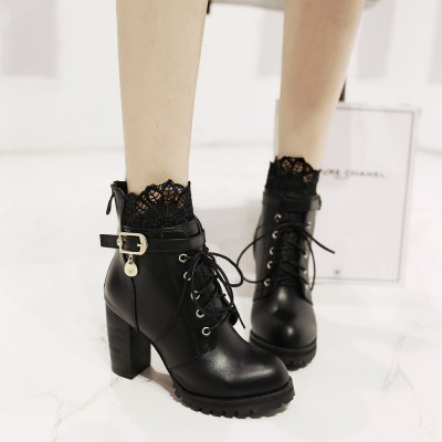 Back Zipper with Lace and Heel BootsWomens Boots<br>Back Zipper with Lace and Heel Boots<br><br>Boot Height: Mid-Calf<br>Boot Type: Fashion Boots<br>Closure Type: Zip<br>Gender: For Women<br>Heel Type: Chunky Heel<br>Package Contents: 1 x Shoes(pair)<br>Pattern Type: Solid<br>Season: Winter, Spring/Fall<br>Toe Shape: Round Toe<br>Upper Material: PU<br>Weight: 1.8304kg