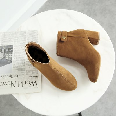 New Style Zipper Heel Short BootsWomens Boots<br>New Style Zipper Heel Short Boots<br><br>Boot Height: Ankle<br>Boot Type: Fashion Boots<br>Closure Type: Zip<br>Gender: For Women<br>Heel Type: Chunky Heel<br>Package Contents: 1 x Shoes(pair)<br>Pattern Type: Solid<br>Season: Winter<br>Toe Shape: Round Toe<br>Upper Material: Flock<br>Weight: 1.2320kg