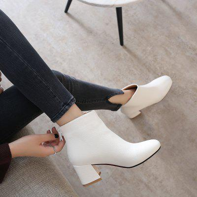 Zipper Boots with Thick TemperamentWomens Boots<br>Zipper Boots with Thick Temperament<br><br>Boot Height: Ankle<br>Boot Type: Fashion Boots<br>Closure Type: Zip<br>Gender: For Women<br>Heel Type: Chunky Heel<br>Package Contents: 1xShoes(pair)<br>Pattern Type: Solid<br>Season: Winter, Spring/Fall<br>Toe Shape: Square Toe<br>Upper Material: PU<br>Weight: 1.2320kg
