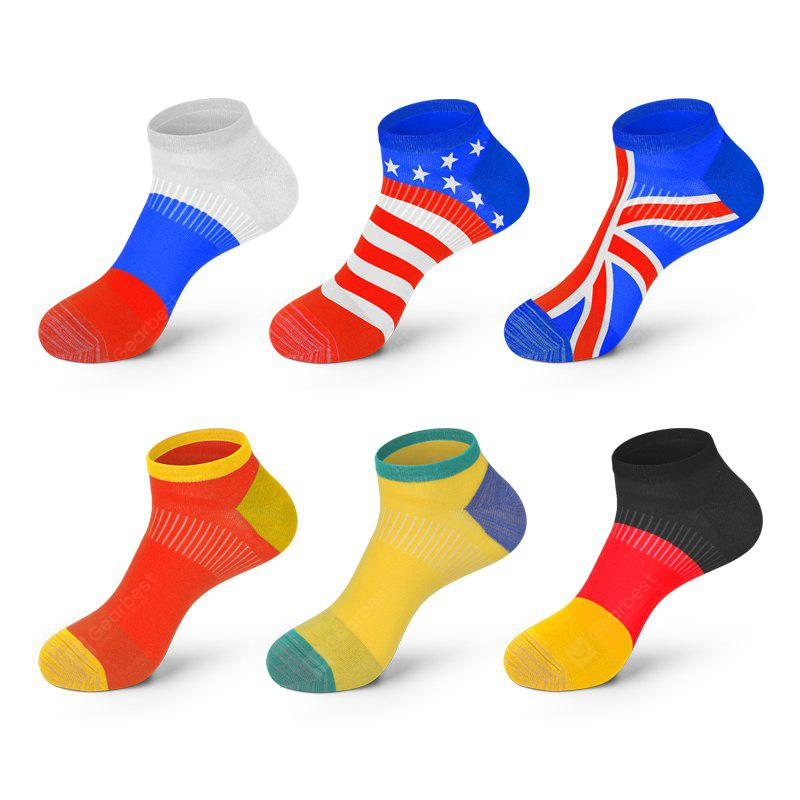 Antibacterial Deodorant National Flag Socks 6PCs