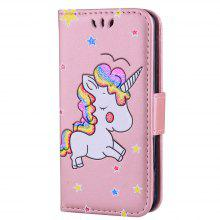 Cute Unicorn Embossed Premium PU Leather Flip Case Wallet Cover Protective Stand Shell Card Slots Cash Pouch Case for Ipod Touch 5 / 6