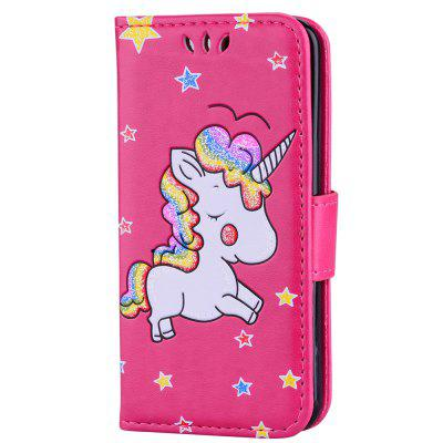 Buy Cute Unicorn Embossed Premium PU Leather Flip Case Wallet Cover Protective Stand Shell Card Slots Cash Pouch Case for Ipod Touch 5 / 6 RED for $3.21 in GearBest store