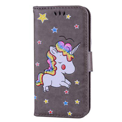 Cute Unicorn Embossed Premium PU Leather Flip Case Wallet Cover Protective Stand Shell Card Slots Cash Pouch Case For iPhone 7 / 8