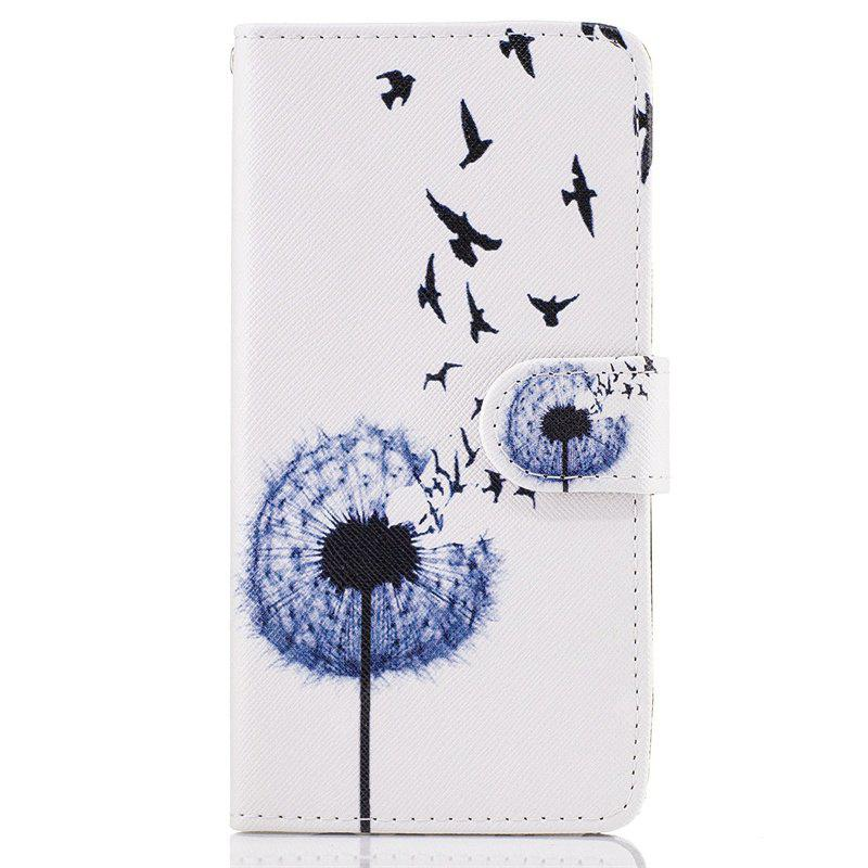 Dandelion Painting Card Lanyard Pu Leather Cover for Samsung J2 prime