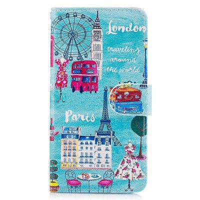 Blue Cat Painting Card Lanyard Pu Leather Cover for Samsung J3 prime