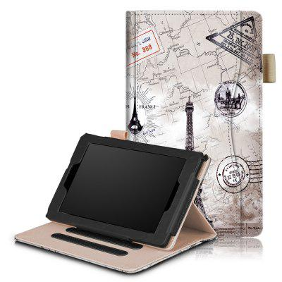 Leather Flip Case for Kindle Fire 7 inch 2017 / 2015 Tablet with Stand and Auto Sleep / Wake Function