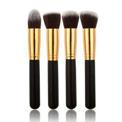 4 Makeup Set Black Handle Gold Tube Fiber  Long Handle Large Brush