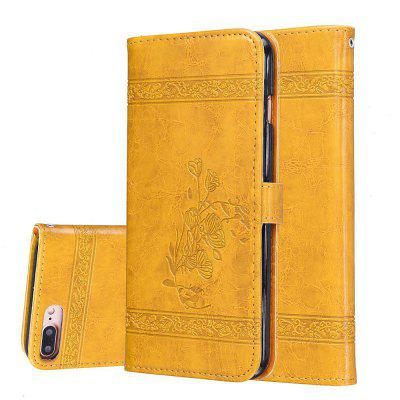 Buy GOLDEN Genuine Quality Retro Style Oil Wax Flower Pattern PU Leather Wallet Phone Case for iPhone 8 Plus for $4.75 in GearBest store