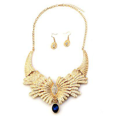 Fashion Big Diamond Drop Earrings Necklace Set with Jewels