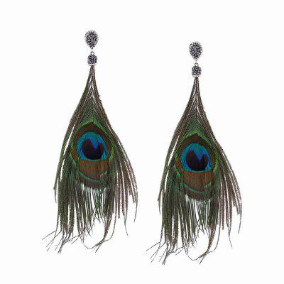 Fashion Ethnic Style Feathers-shaped Long Drop Earrings with Diamond Charm Jewelry