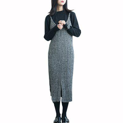 Buy GRAY Fashionable Sleeveless Medium Long Dress for $24.27 in GearBest store