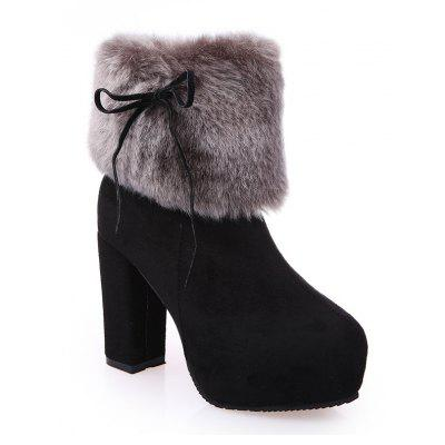 2017 New Autumn and Winter in The Warm and Thick Heeled Barrel Cashmere Boots