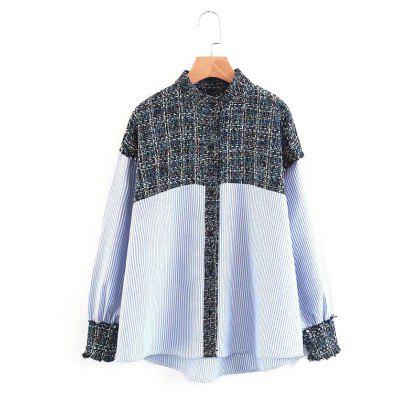 New Ladies Woollen Splicing Stripe Pattern Long Sleeve Shirt