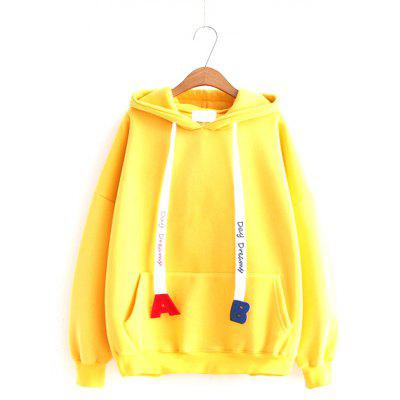 New Lady AB Letter Rope Pocket and Velvet Hoodie