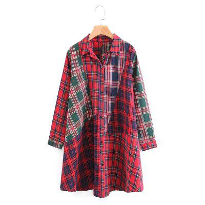 New Lady Stitched The Tartan Long Sleeves Long Shirts