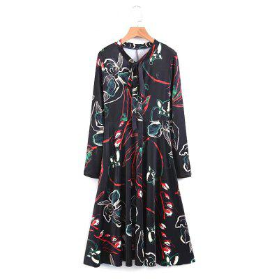 New Lady Floral Neckline  Dress