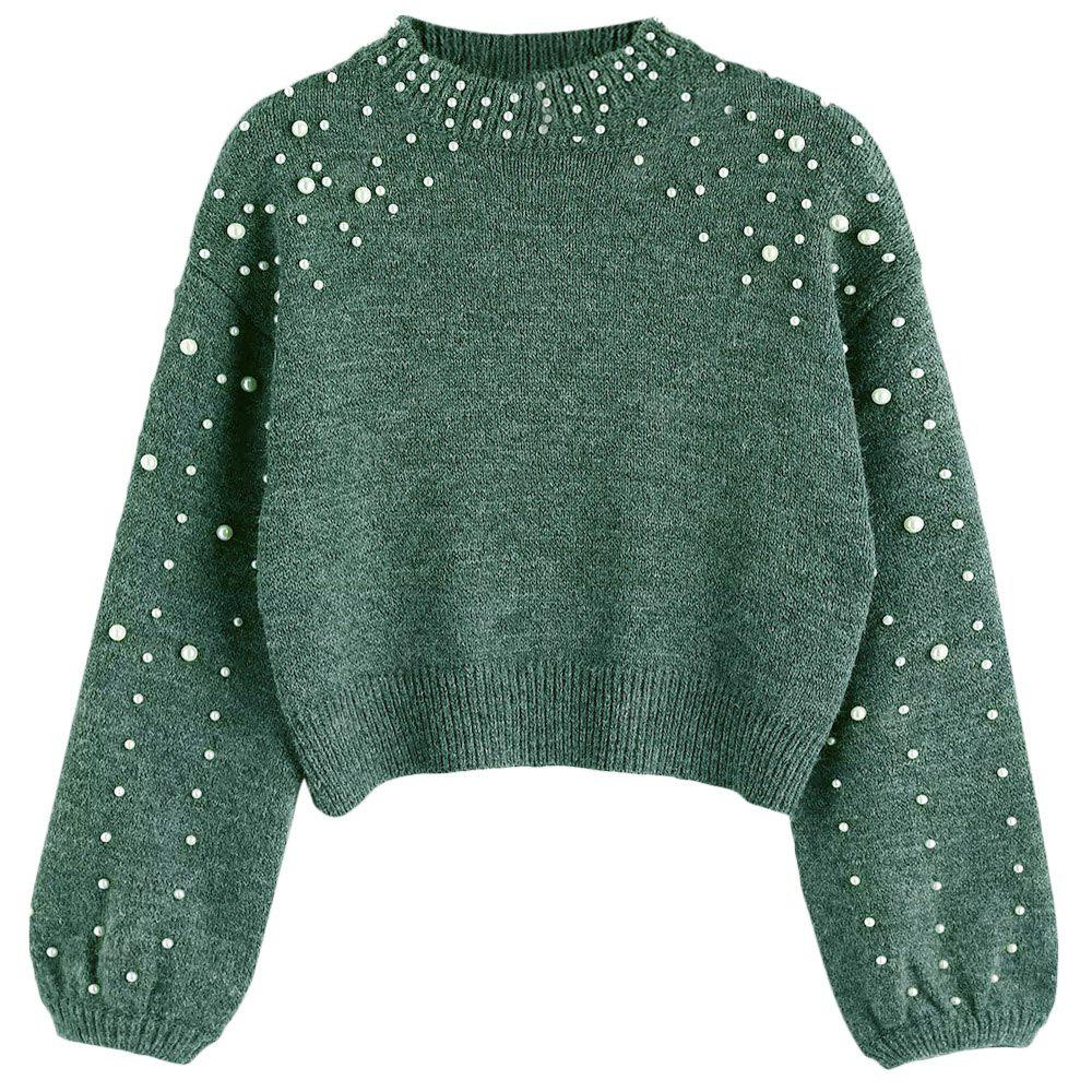New Lady's Short Pearl Decorative Knitted Sweater