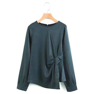 New Women's Fold Garnish Slim Shirt