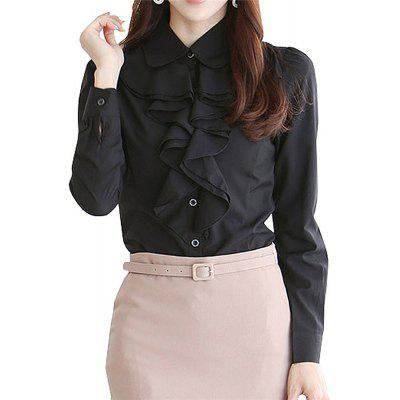 Women Office Lotus Ruffle Vintage Long Sleeve Blouse