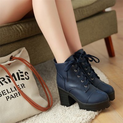High Heeled Short Boots Waterproof Thick Heel Sole BootsWomens Boots<br>High Heeled Short Boots Waterproof Thick Heel Sole Boots<br><br>Boot Height: Mid-Calf<br>Boot Tube Circumference: 25<br>Boot Tube Height: 14<br>Boot Type: Riding/Equestrian<br>Closure Type: Lace-Up<br>Gender: For Women<br>Heel Height: 9.5<br>Heel Height Range: High(3-3.99)<br>Heel Type: Chunky Heel<br>Package Contents: 1 x Shoes (pair)<br>Pattern Type: Solid<br>Platform Height: 3.5<br>Season: Winter<br>Shoe Width: Medium(B/M)<br>Toe Shape: Round Toe<br>Upper Material: PU<br>Weight: 1.3440kg