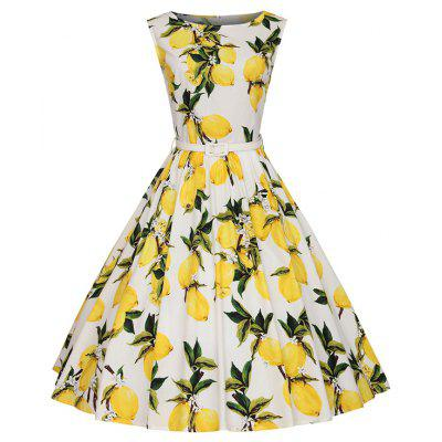 Woman's Sleeveless Lemon Print Large Dress
