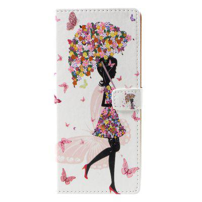 Flower Girl Pattern PU Leather Wallet Stand Phone Cover for Samsung Galaxy Note8 N950