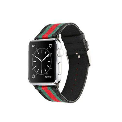 Фото 38MM Casual Canvas with Genuine Leather Replacement Wristband Stripe Color Splicing Style for iWatch Series 3 2 1. Купить в РФ