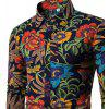 2017 The New Men's Long Sleeves Printed Floral Shirts - BLACK