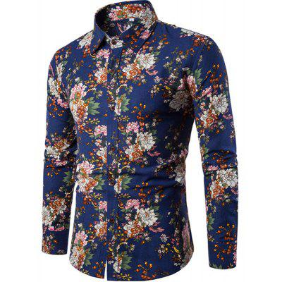 2017 Autumn and Winter New Men Long Sleeves Printed  Floral  Night Clubs Shirts