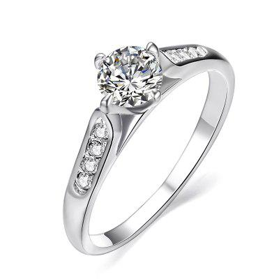Classic 18k White Gold Plated 1ct Top Cz Diamond Stone Engagement Finger Rings for Women