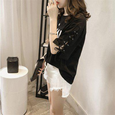 Womens T Shirt O Neck Half Sleeve Lacing Letter Pattern Casual TopTees<br>Womens T Shirt O Neck Half Sleeve Lacing Letter Pattern Casual Top<br><br>Collar: Round Neck<br>Elasticity: Micro-elastic<br>Fabric Type: Broadcloth<br>Material: Cotton<br>Model Number: S155120<br>Package Contents: 1 x T-shirt<br>Pattern Type: Letter<br>Shirt Length: Regular<br>Sleeve Length: Short<br>Style: Fashion<br>Weight: 0.2200kg