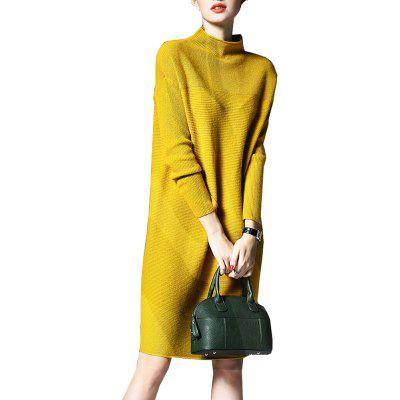 Women's Sweater Dress Solid Color Long Sleeve Plus Size Dress