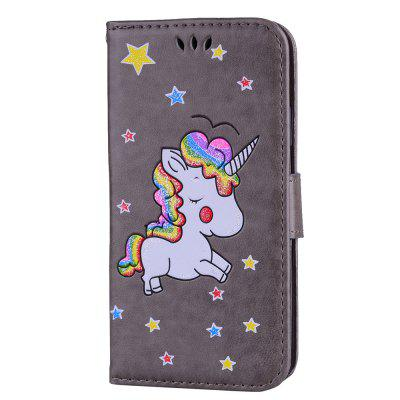 Flash Powder Unicorn Premium PU Leder Handyhülle für iPhone X