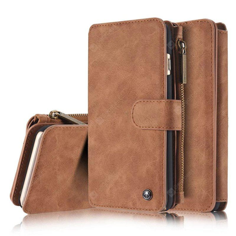 Luxo Retro Leather Multifunction Magnetic Case Card Zipper Wallet Voltar para iPhone 6