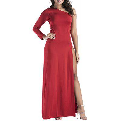 Red Sexy One Shoulder Open Fork Night Dress