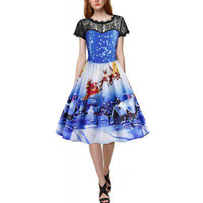 2017 New Snowflake Santa Prints Lace Dresses