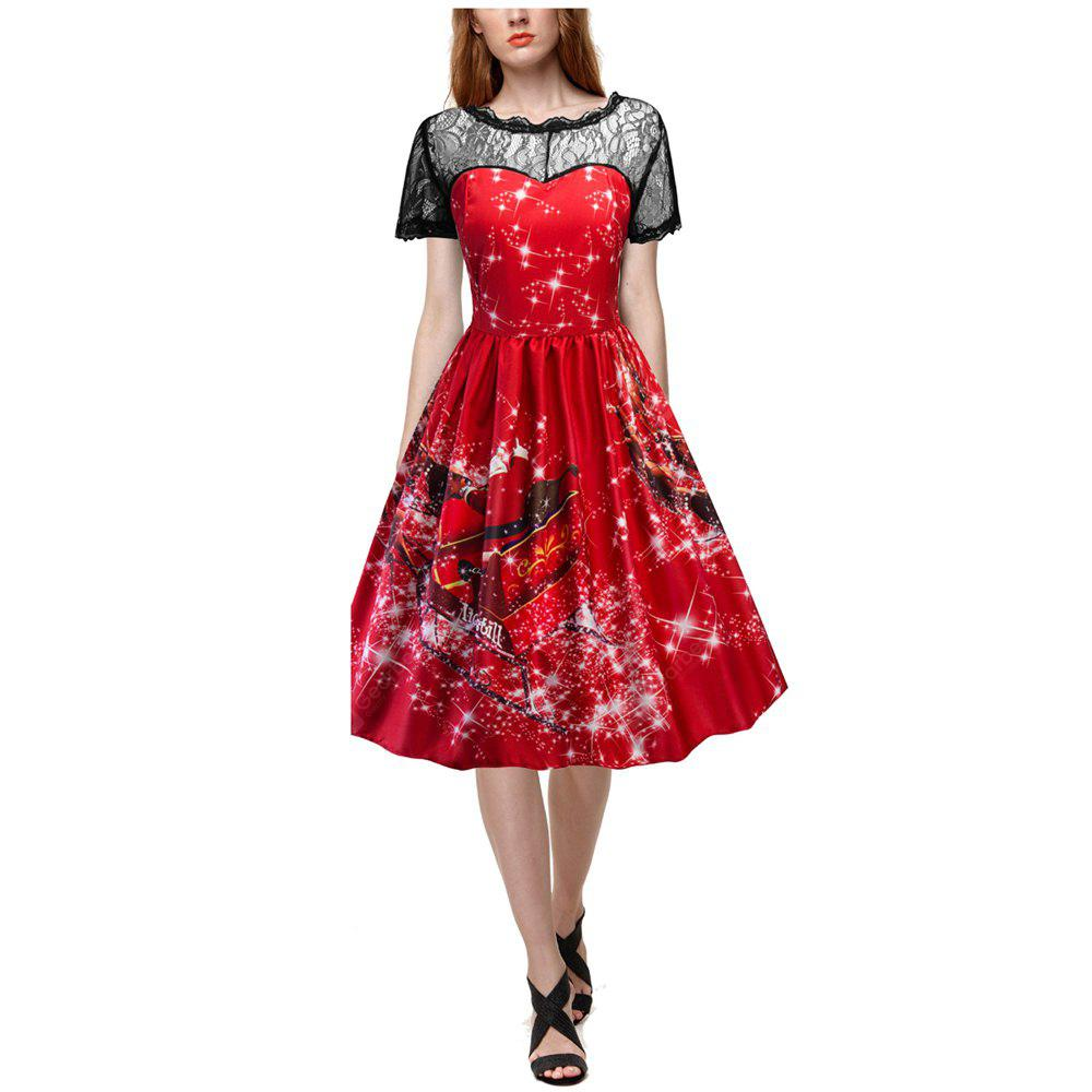 2017 New Christmas Red Floral Lace Dress