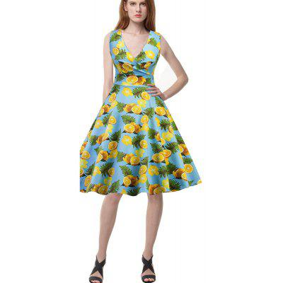 New Lemon Blumendruck Retro Pengpeng Kleid